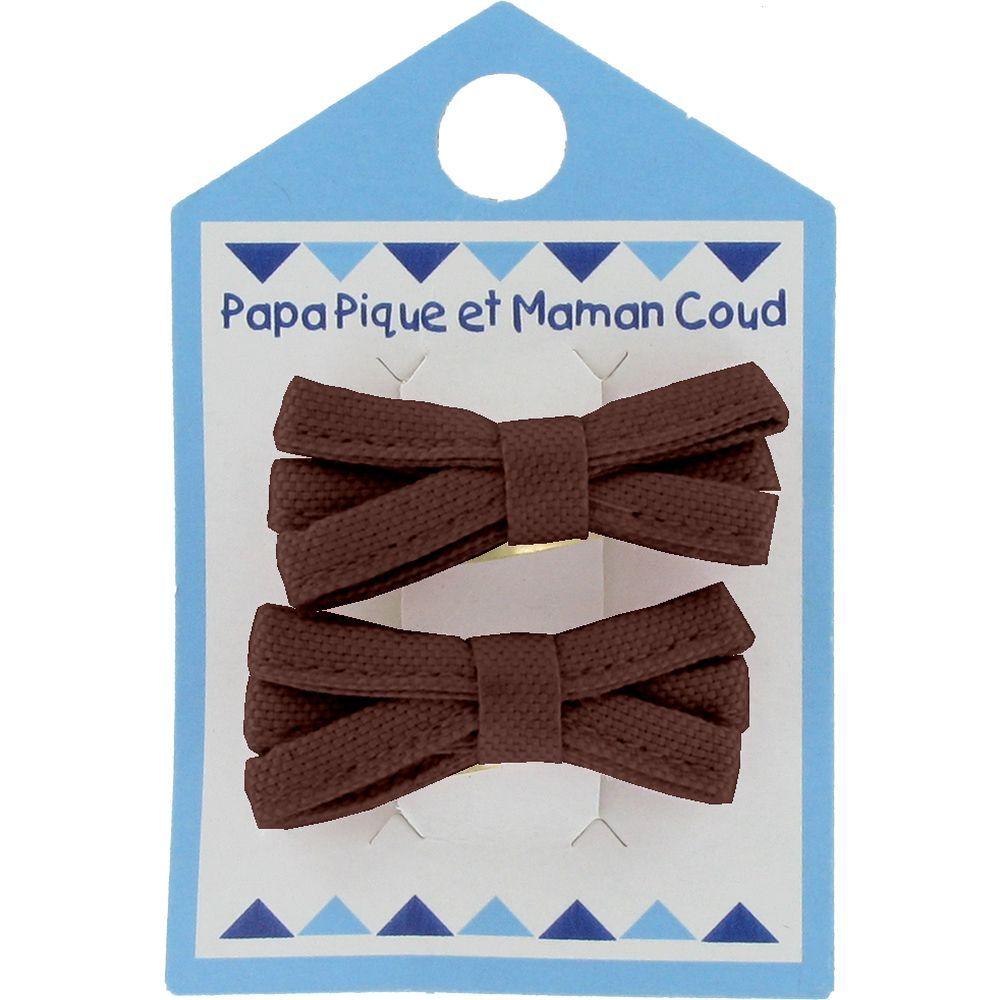 Barrette clic-clac mini ruban marron