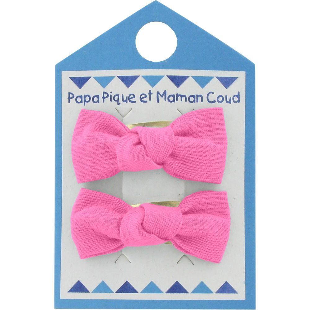 Small bows hair clips pink - light cotton canvas
