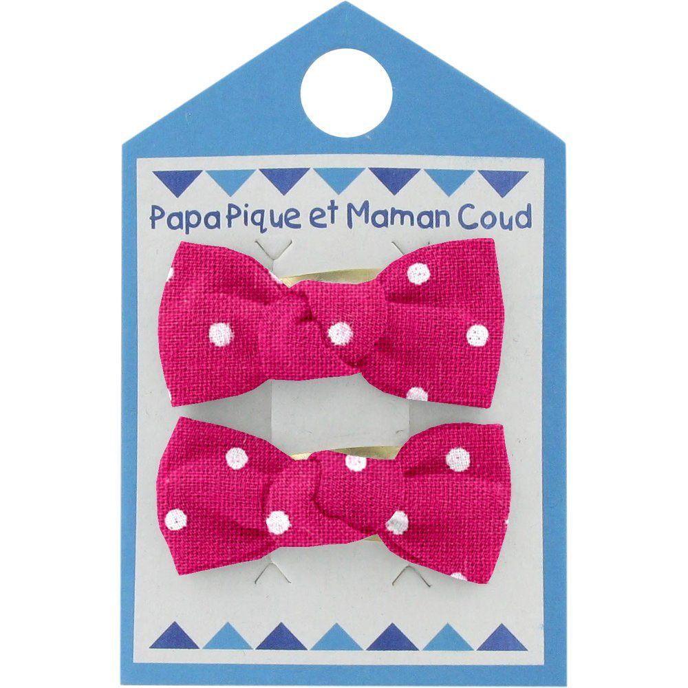 Small bows hair clips fuschia spots
