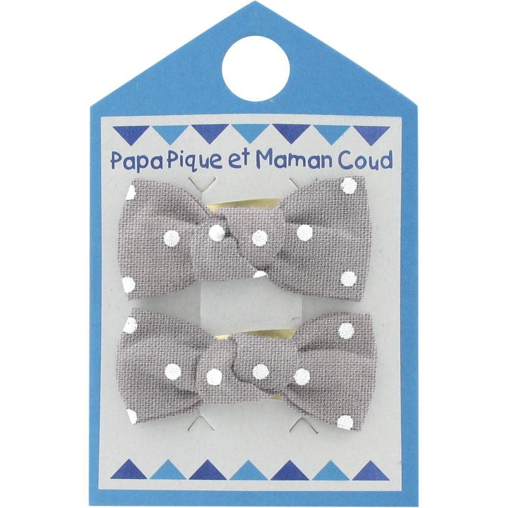 Small bows hair clips light grey spots