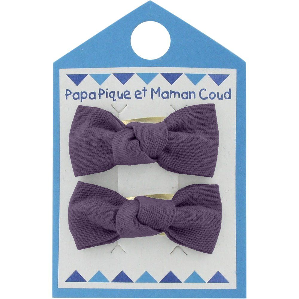 Small bows hair clips plum