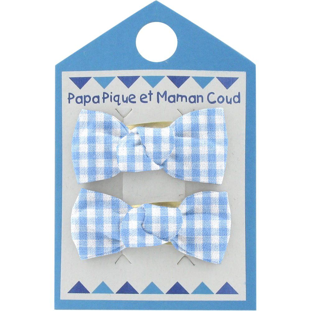 Small bows hair clips sky blue gingham