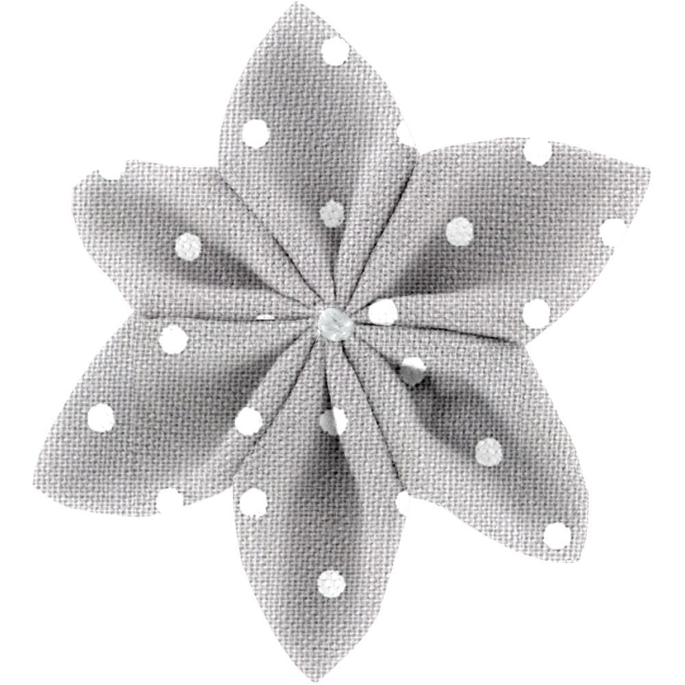 Star flower 4 hairslide light grey spots