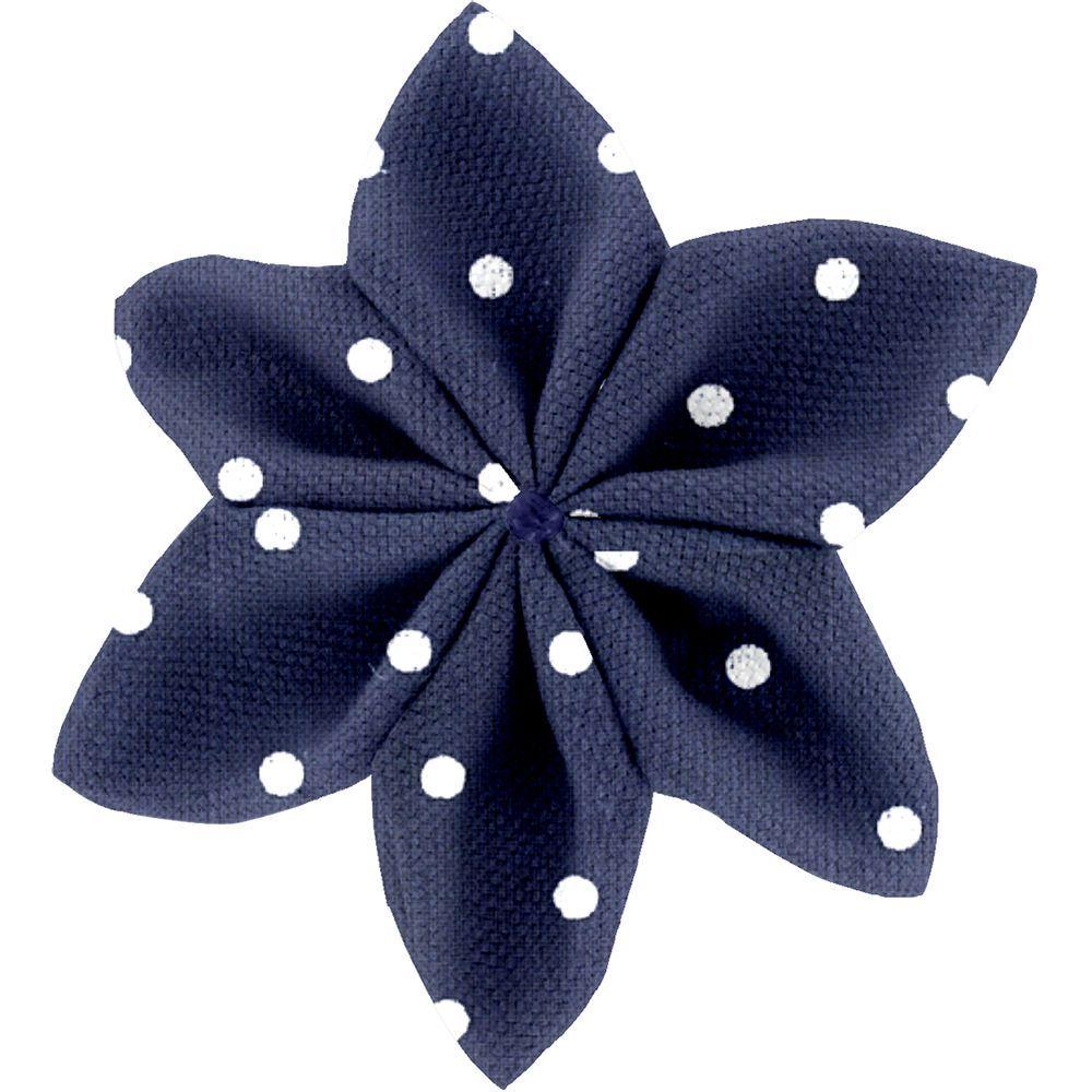 Barrette fleur étoile 4 pois marine