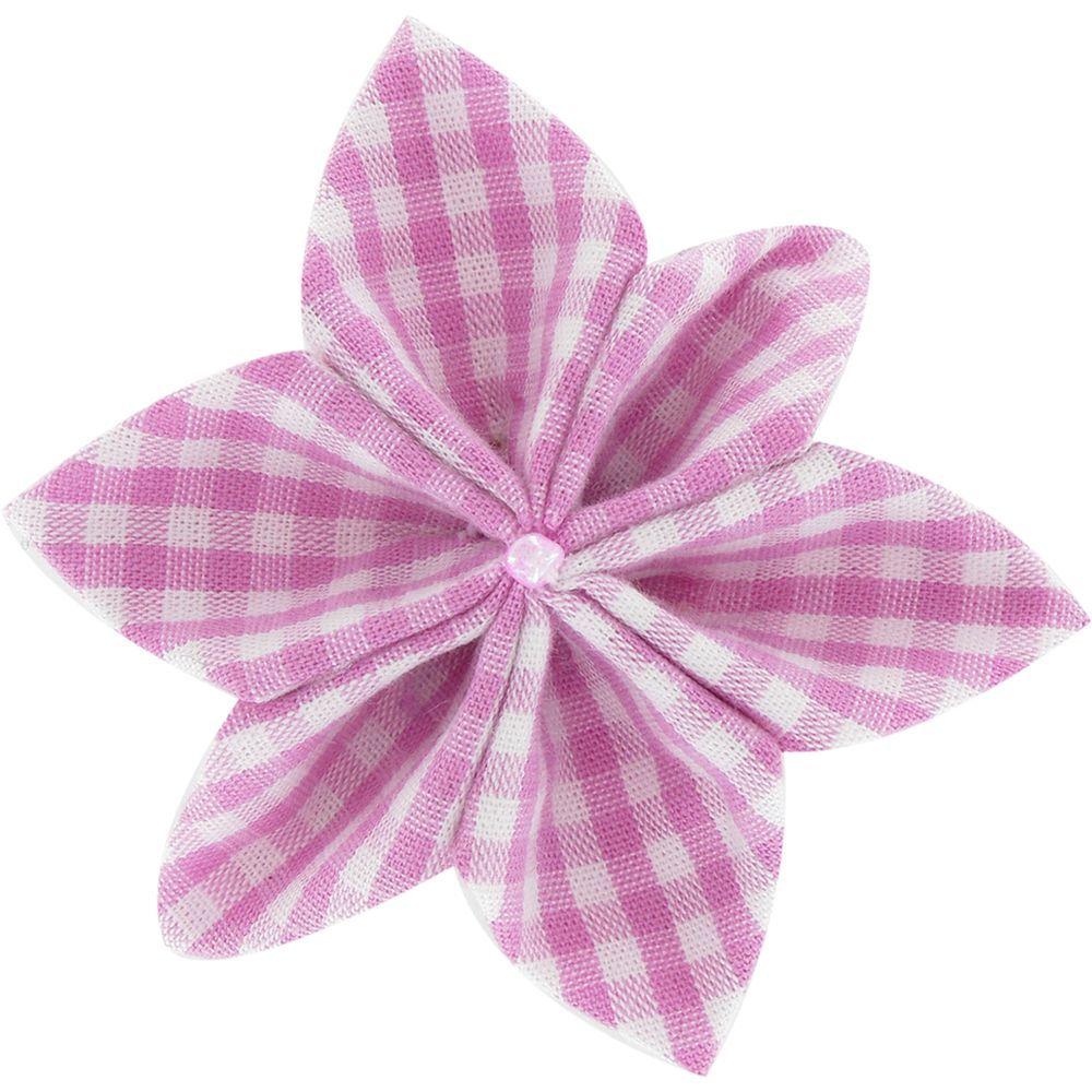 Barrette fleur étoile 4 vichy fuchsia