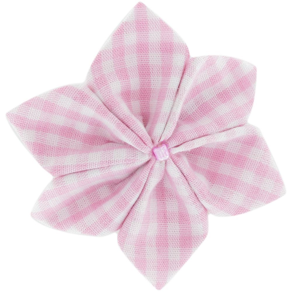 Star flower 4 hairslide pink gingham