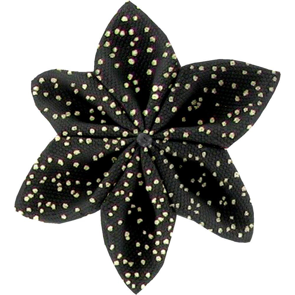 Star flower 4 hairslide noir pailleté