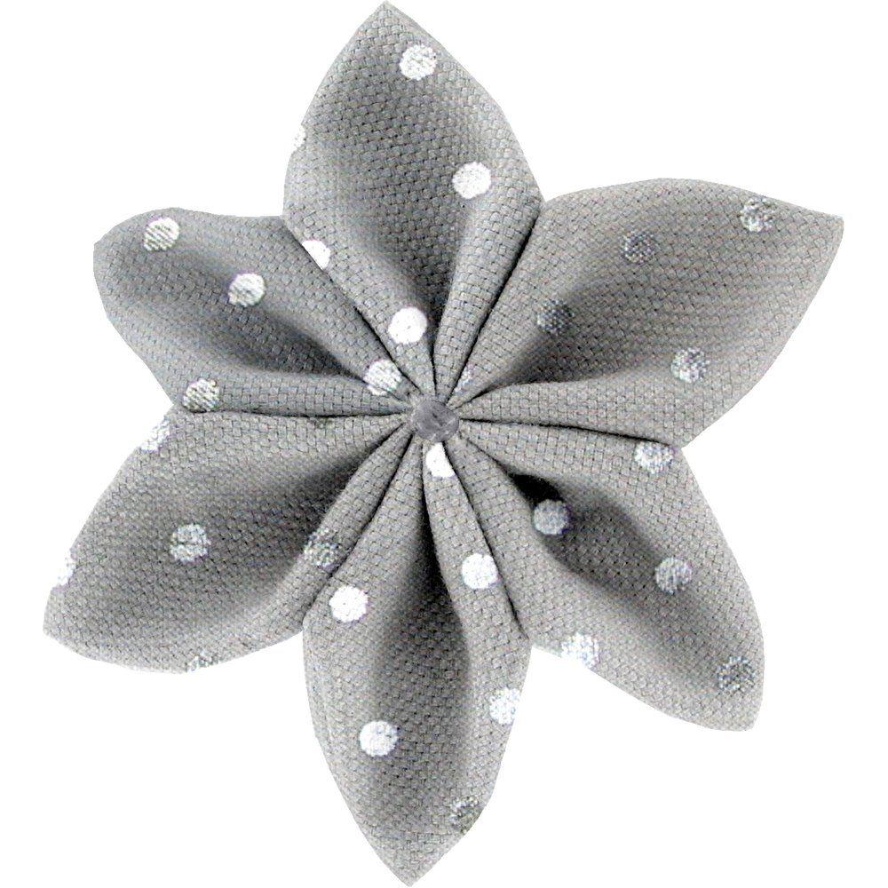 Barrette fleur étoile 4  pois argent gris