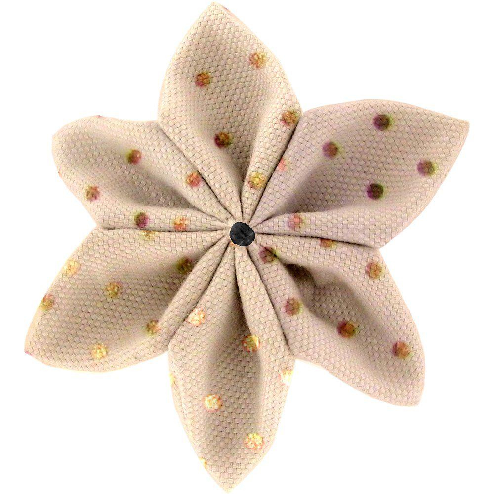 Barrette fleur étoile 4 pois cuivré rose