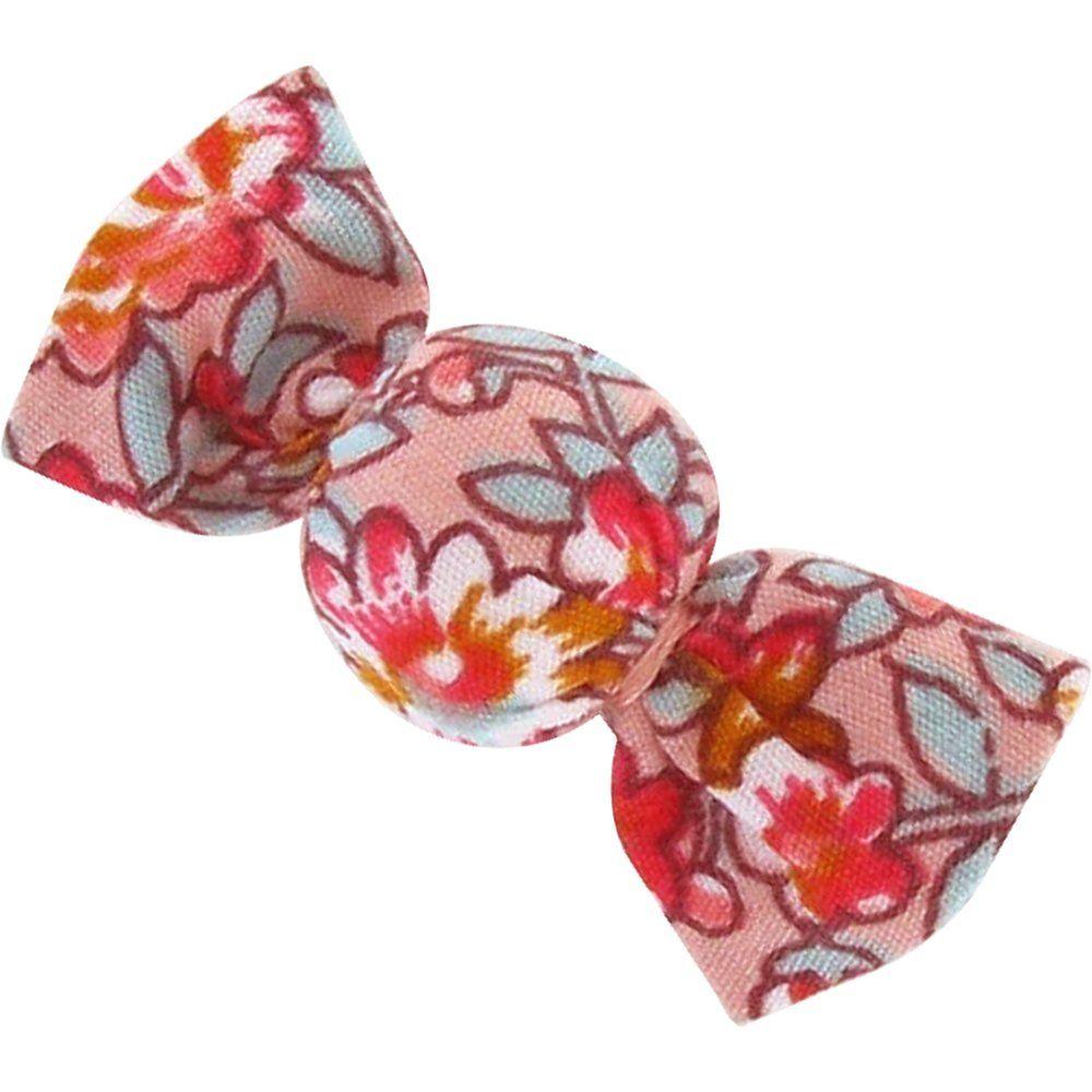 Petite barrette mini bonbon floral pêche