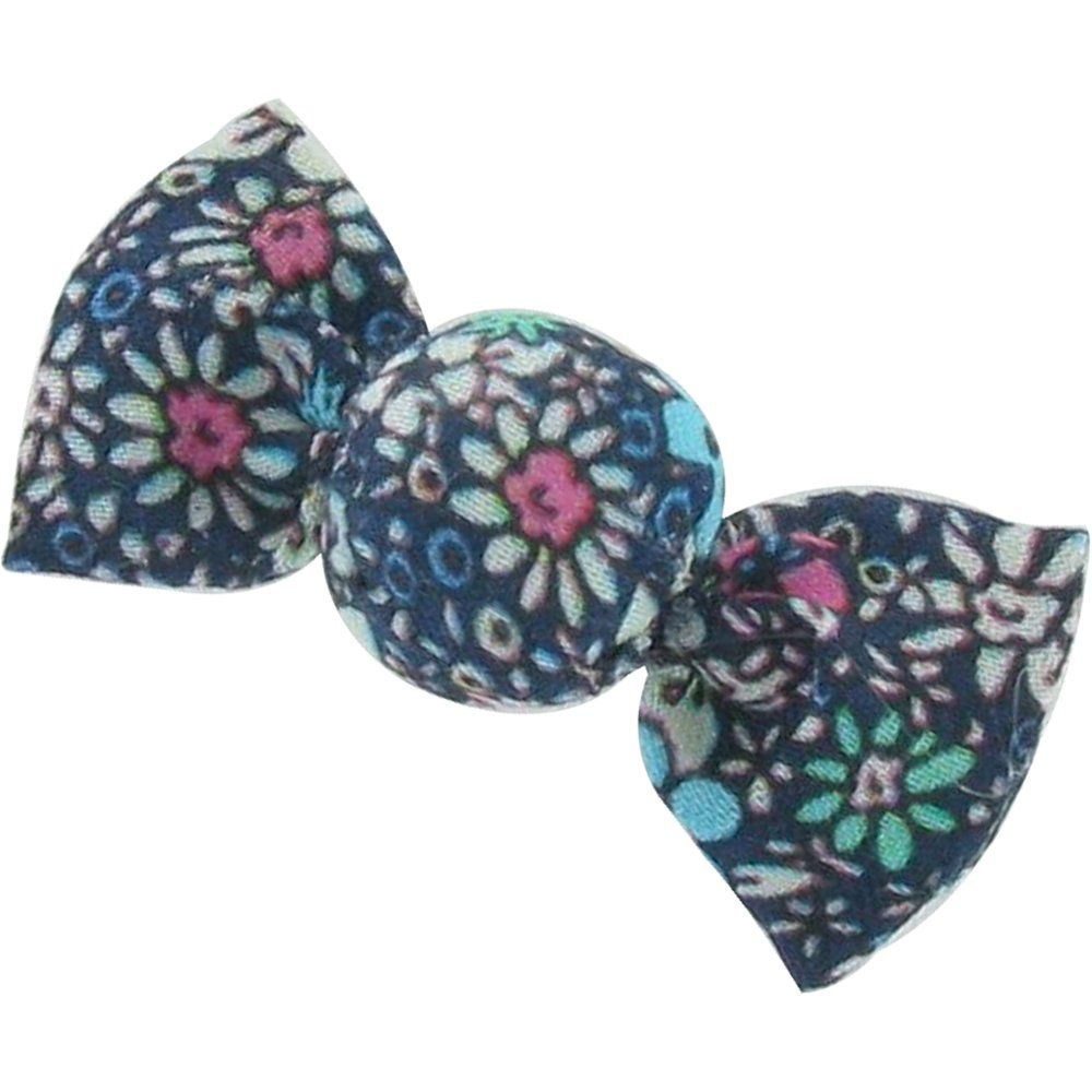 Petite barrette mini bonbon milli fleurs vert azur