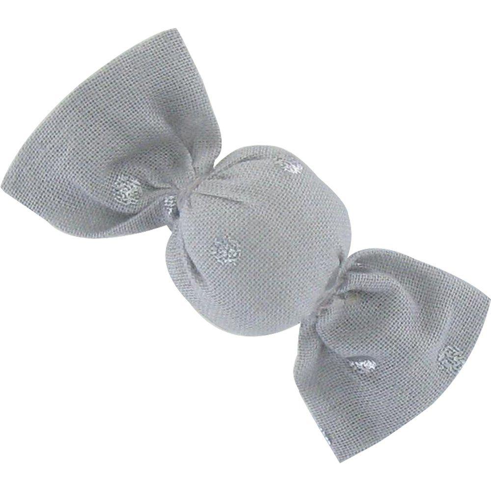 Petite barrette mini bonbon  pois argent gris