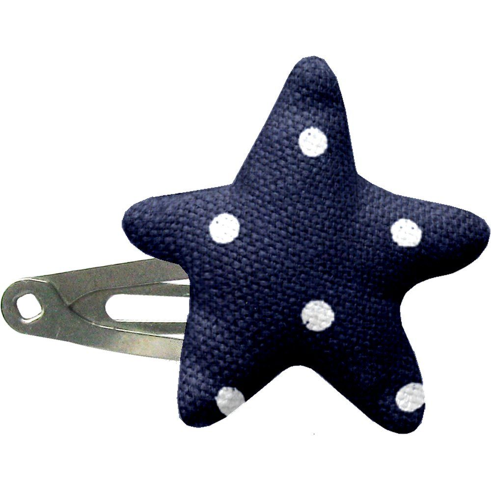 Star hair-clips navy blue spots