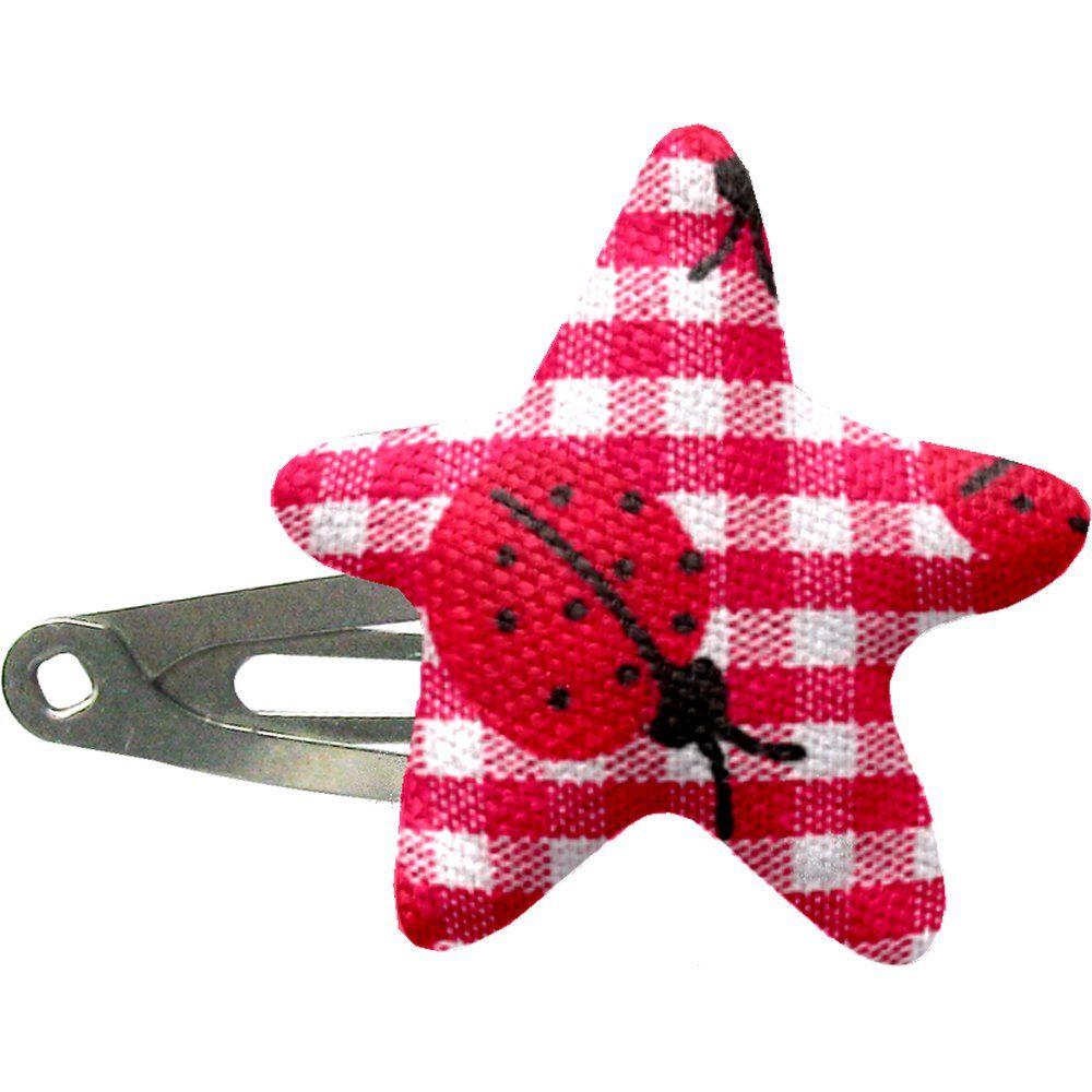 Star hair-clips ladybird gingham