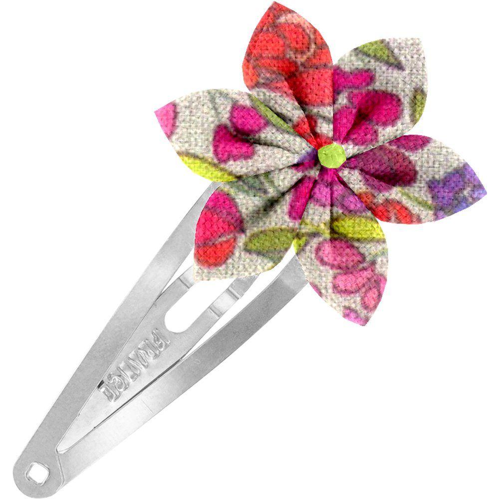 Barrette clic-clac fleur étoile prairie pourpre
