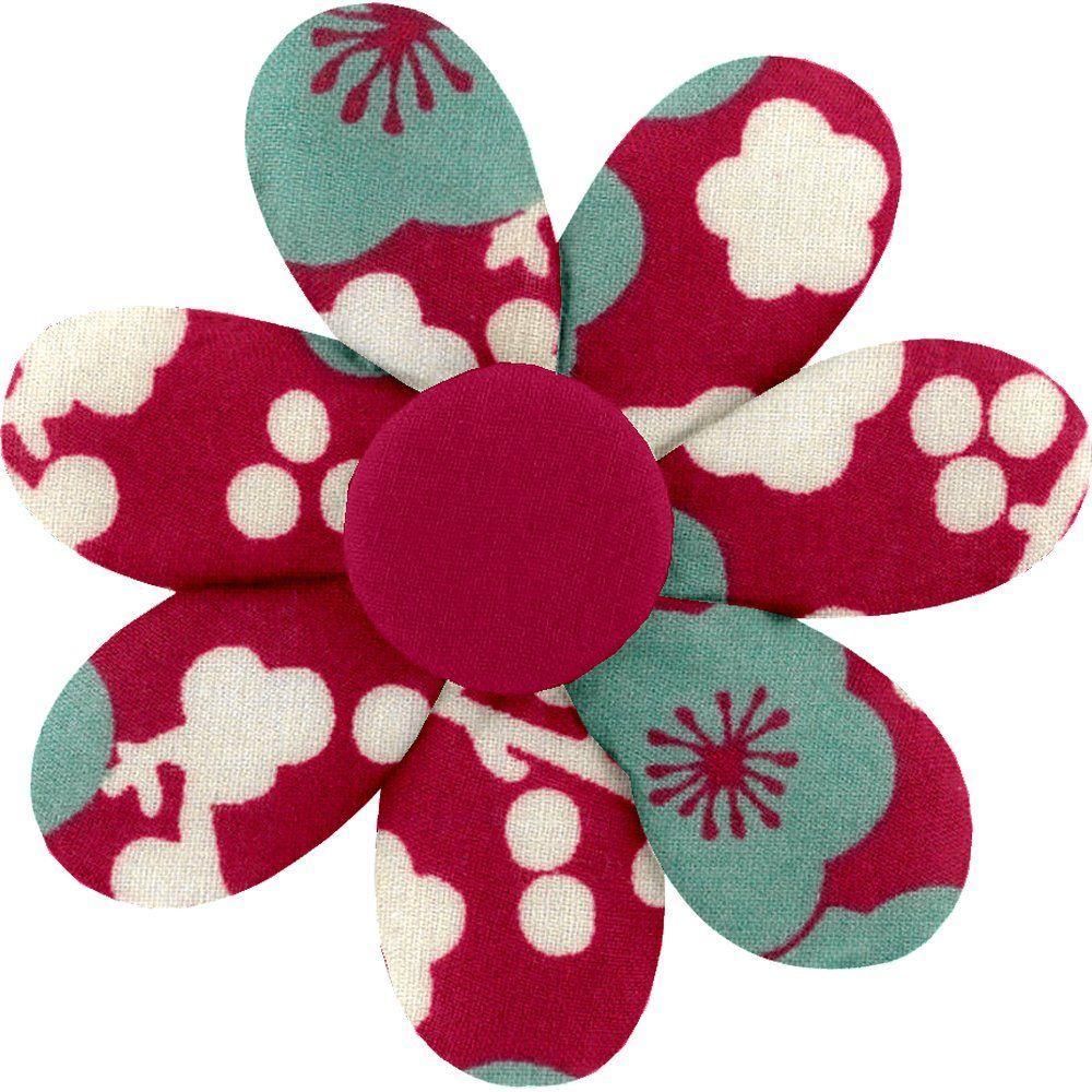 Fabrics flower hair clip ruby cherry tree