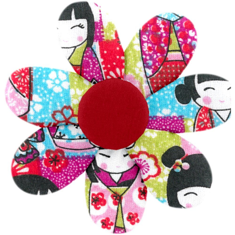 Fabrics flower hair clip kokeshis