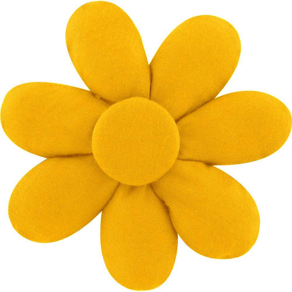 Barrette fleur marguerite jaune ocre