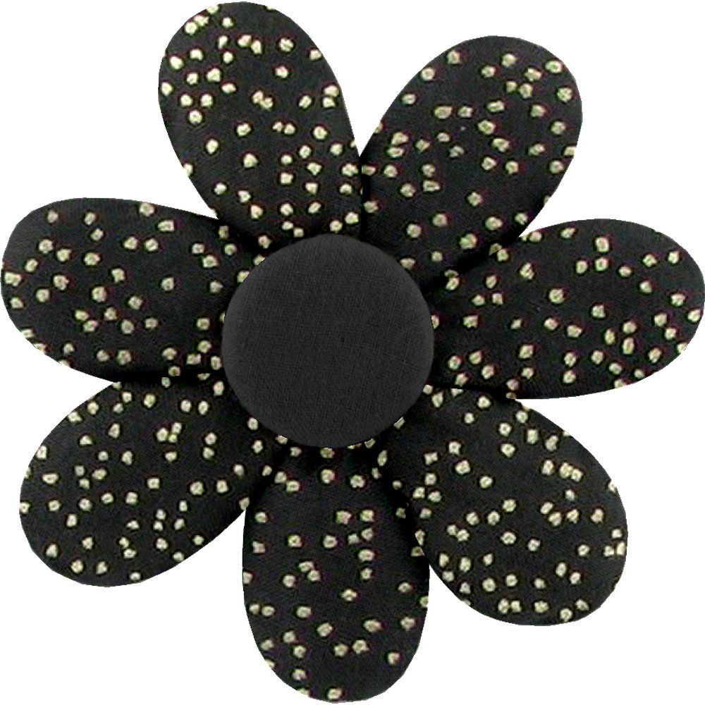 Fabrics flower hair clip noir pailleté