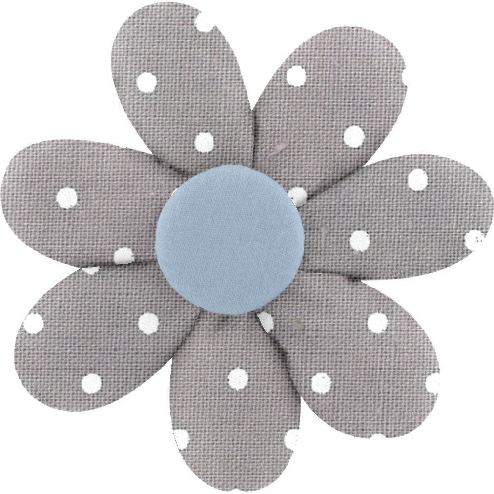 Fabrics flower hair clip light grey spots