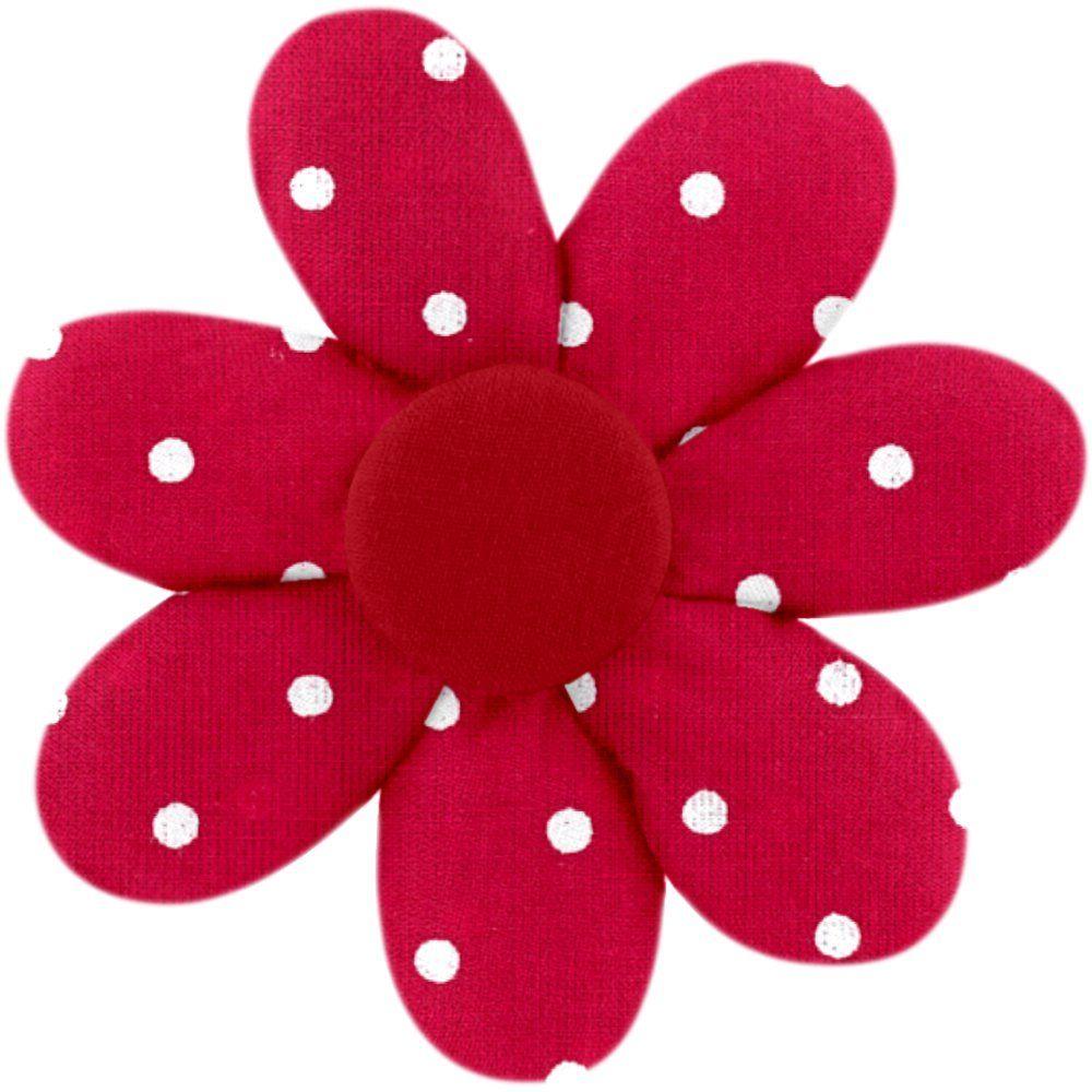 Pasador flor margarita  lunares rojos