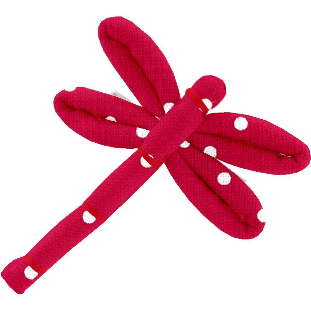 Dragonfly hair slide red spots