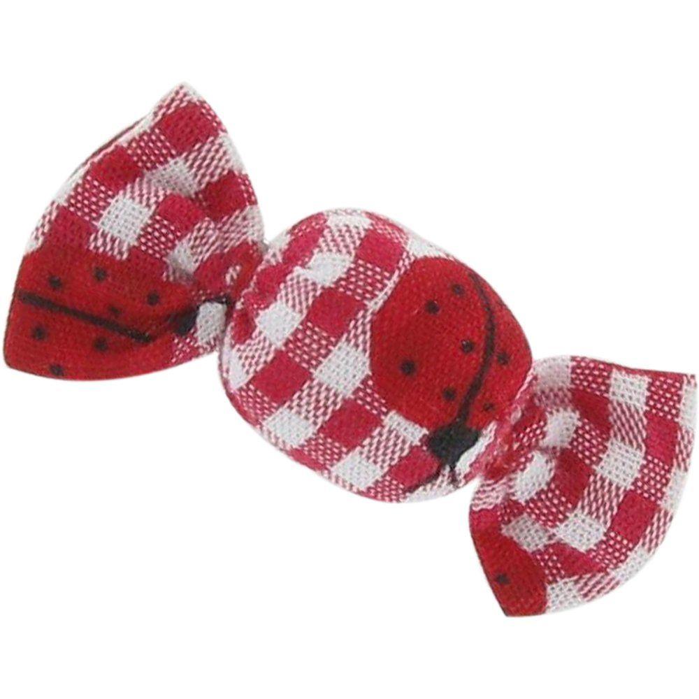 Pasador mini caramelo cuadros vichy rojo y mariquitas