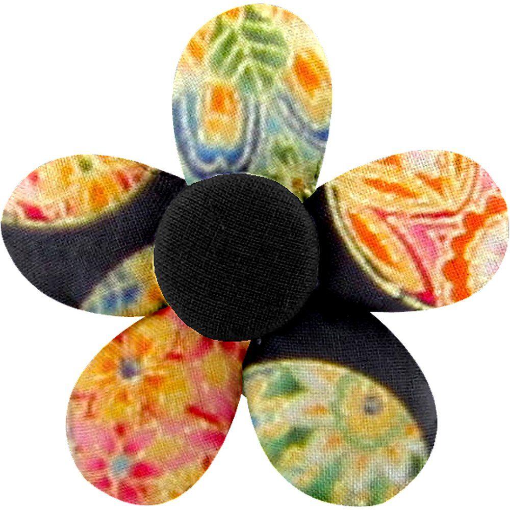 Petite barrette mini-fleur bulles dorées