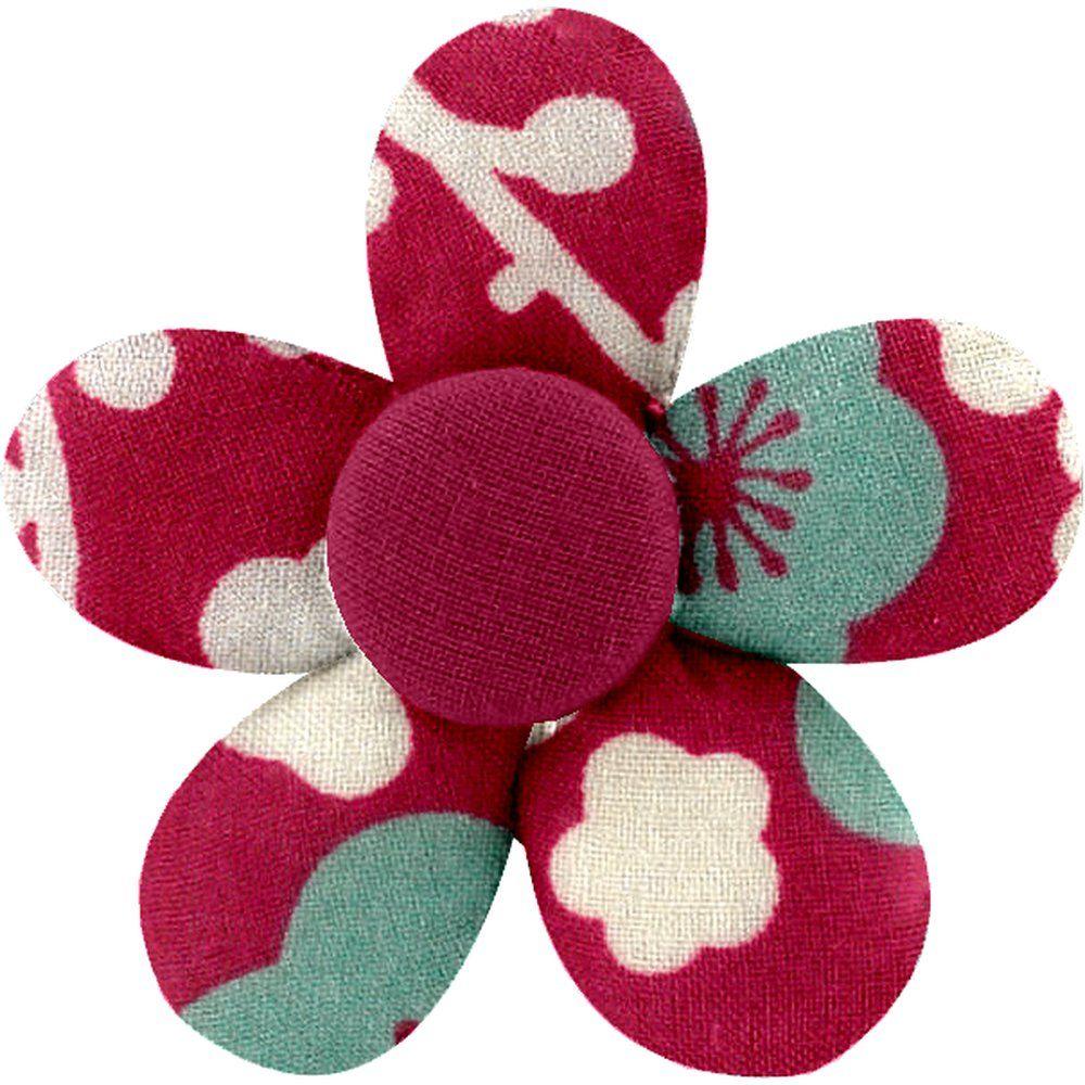 Petite barrette mini-fleur cerisier rubis jade