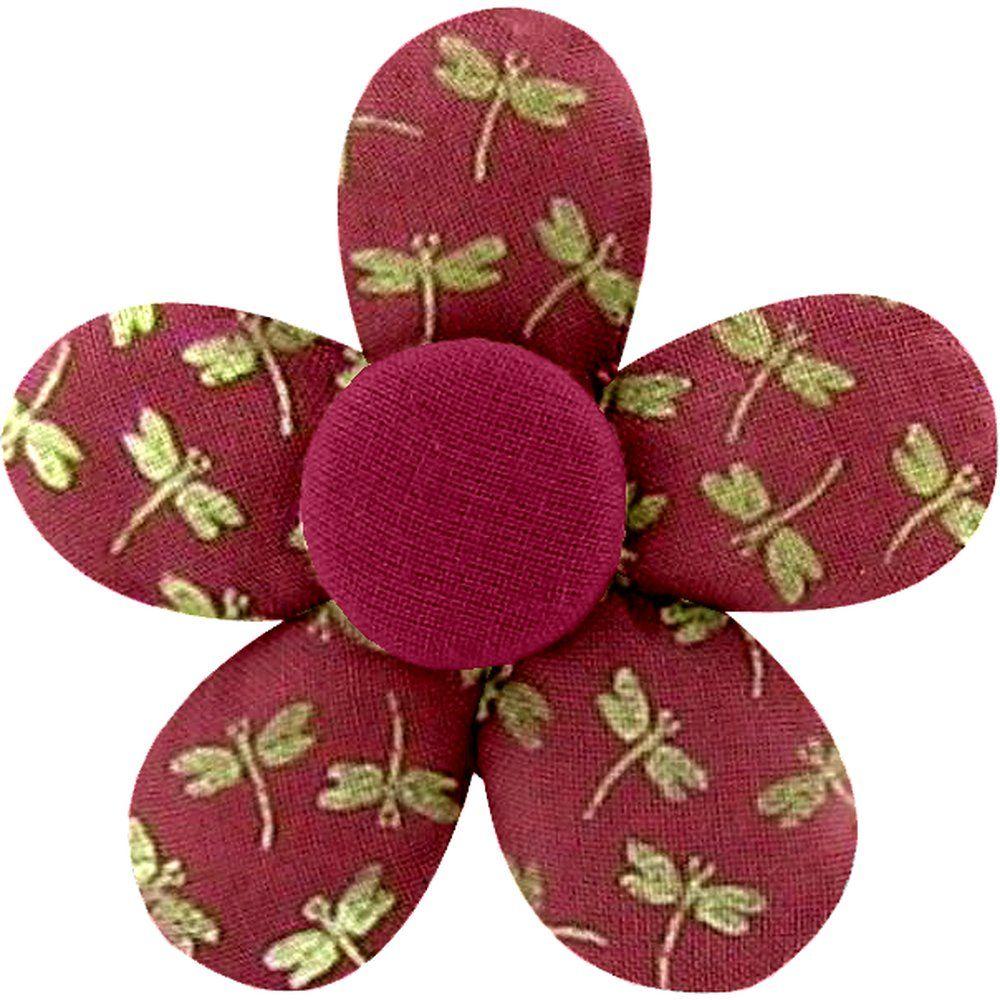Pasador mini flor libélula rojo