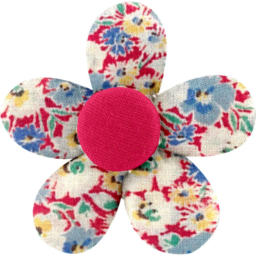 Petite barrette mini-fleur oeillets jean