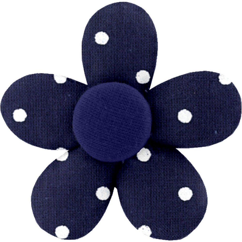 Petite barrette mini-fleur pois marine
