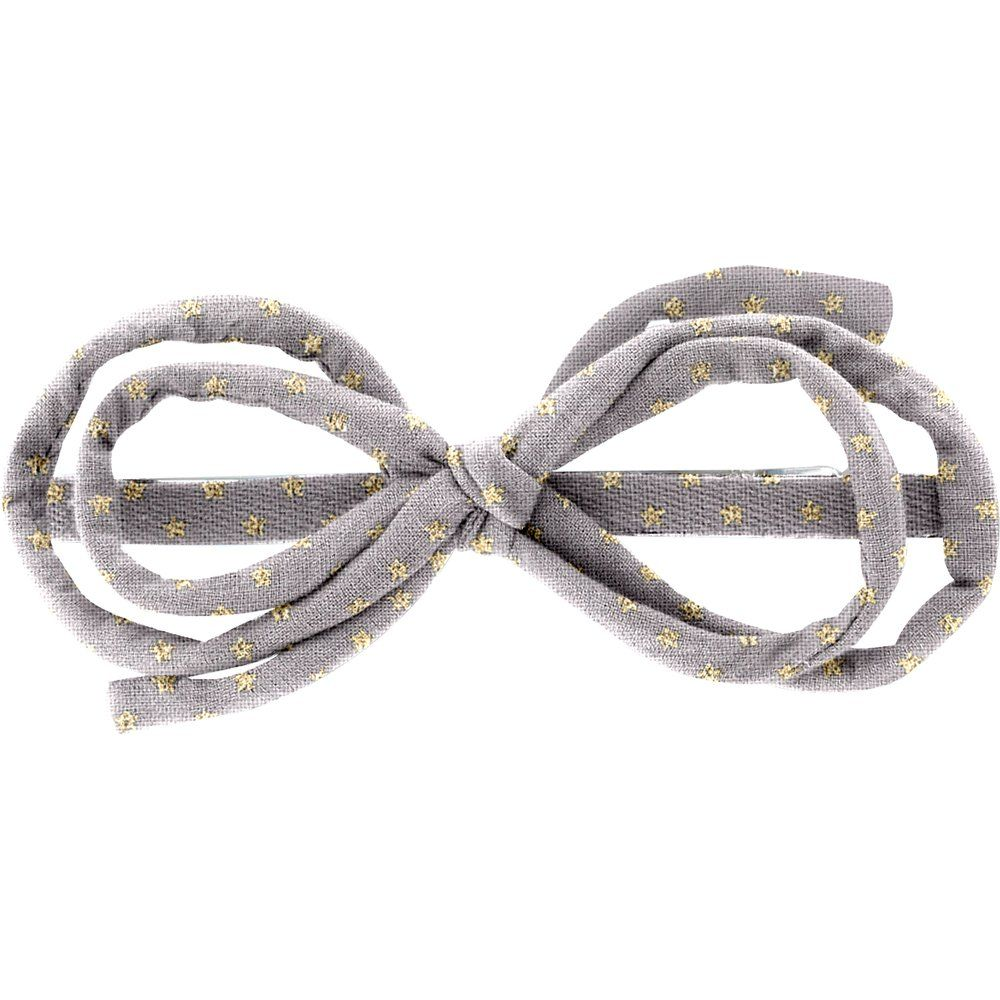 Barrette noeud arabesque etoile or gris