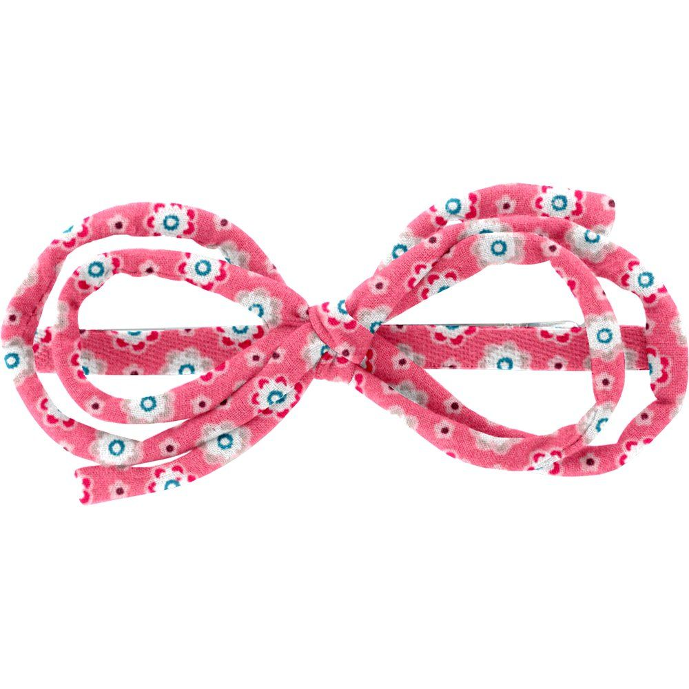 Barrette noeud arabesque  fleurette blush