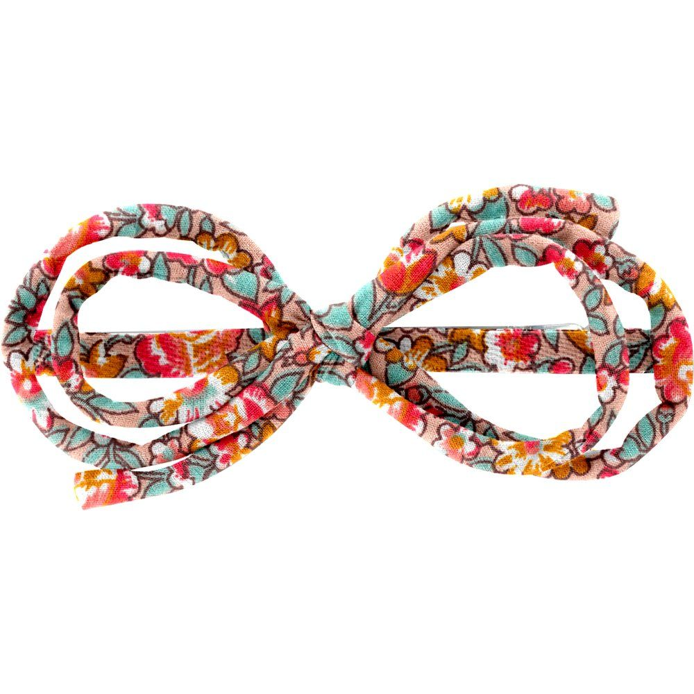Barrette noeud arabesque floral pêche