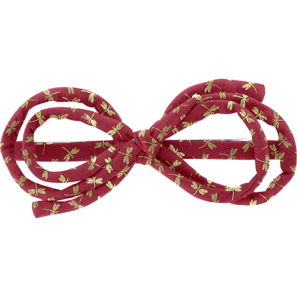 Barrette noeud arabesque libellule mini rubis