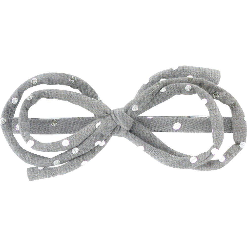 Barrette noeud arabesque  pois argent gris