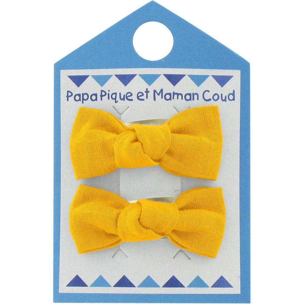 Barrettes clic-clac petits noeuds jaune ocre