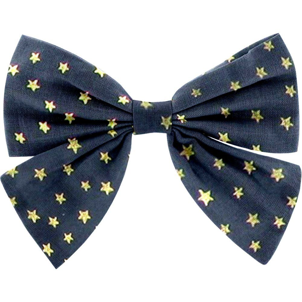 Bow tie hair slide navy gold star
