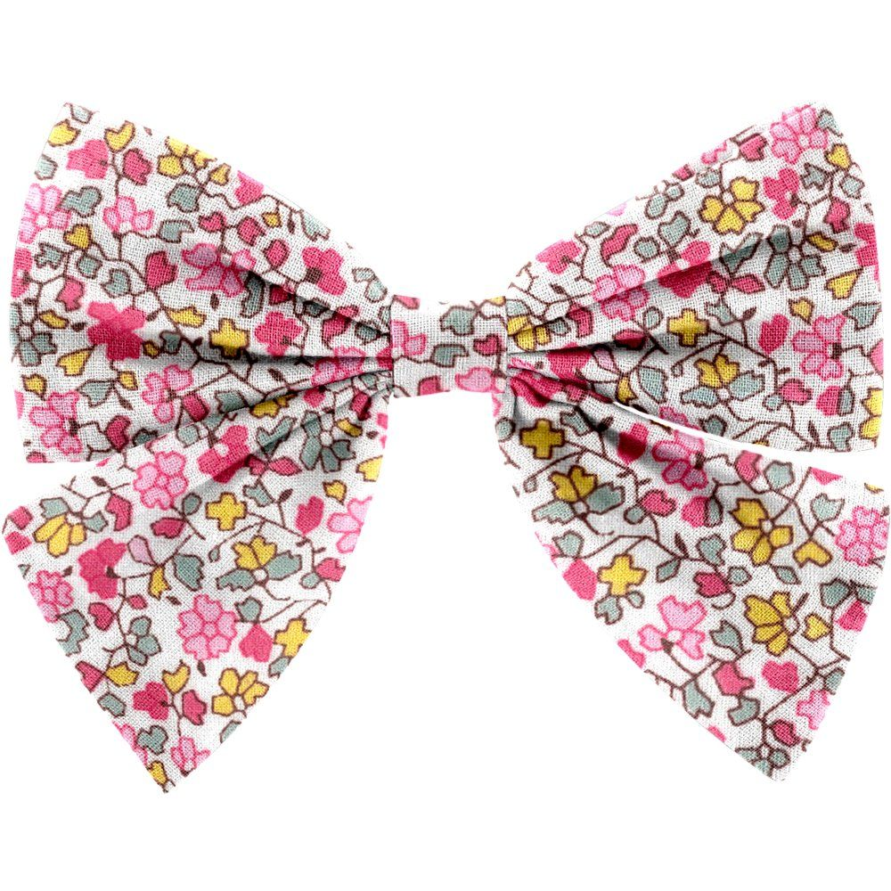 Barrette noeud papillon jasmin rose