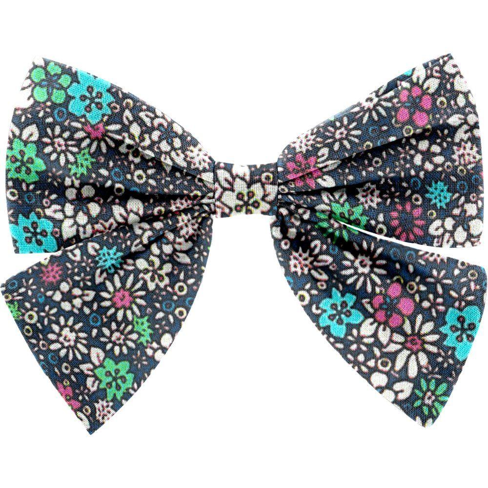 Barrette noeud papillon milli fleurs vert azur