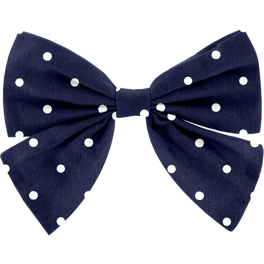 Bow tie hair slide navy blue spots