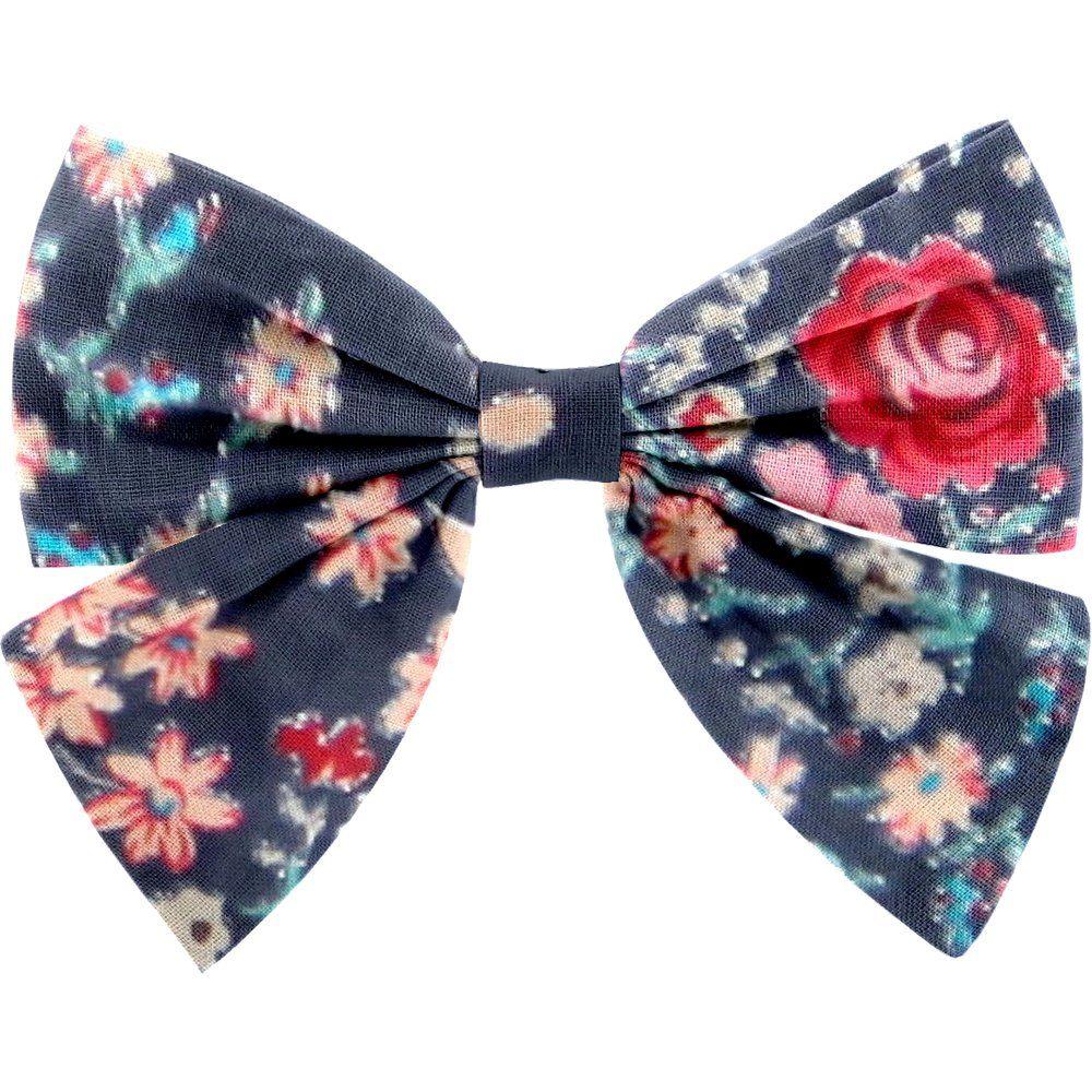 Barrette noeud papillon rose argentée