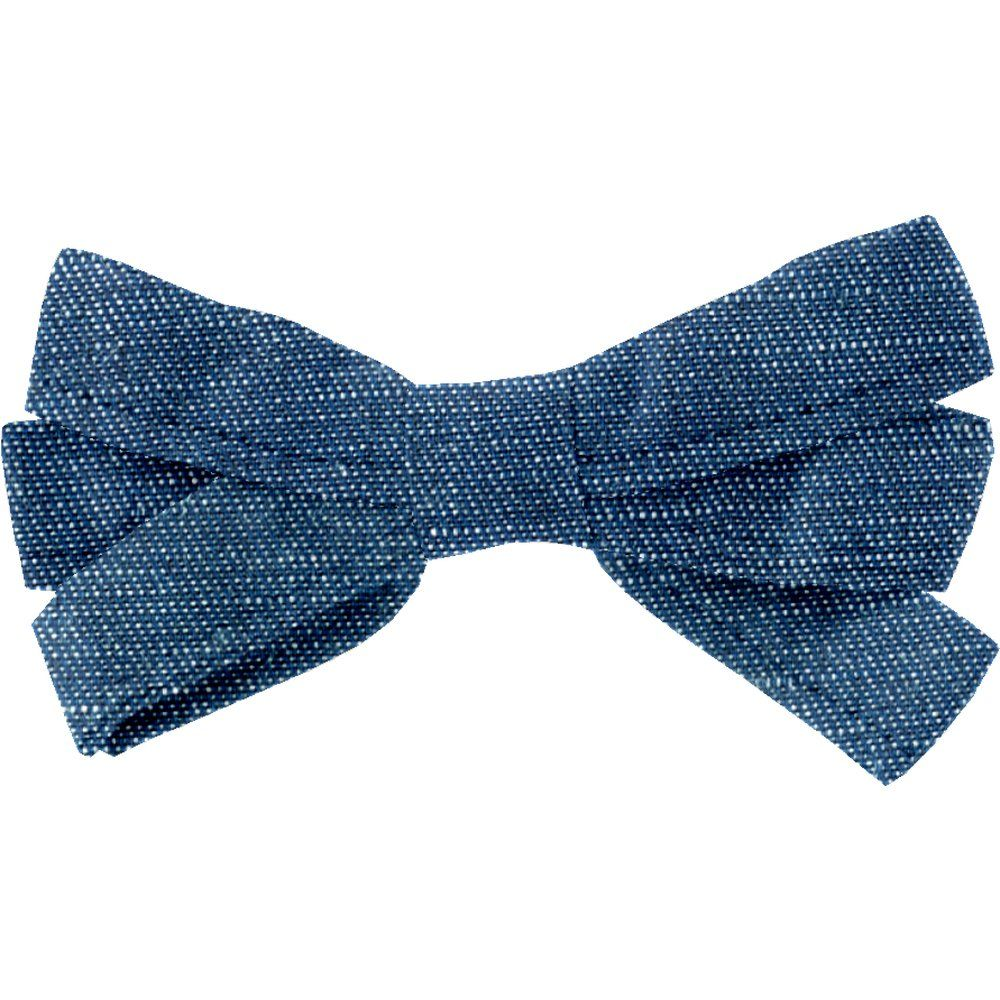 Ribbon bow hair slide light denim