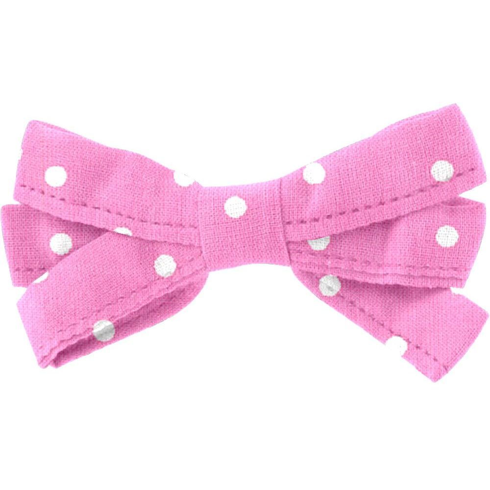 Ribbon bow hair slide pink spots