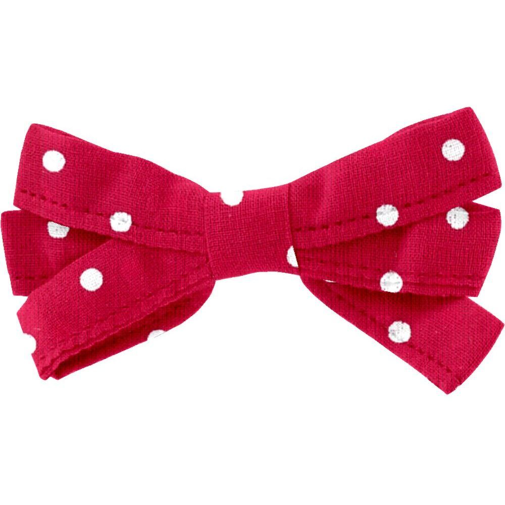 Barrette noeud ruban pois rouge