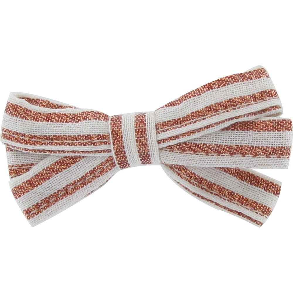 Ribbon bow hair slide copper stripe