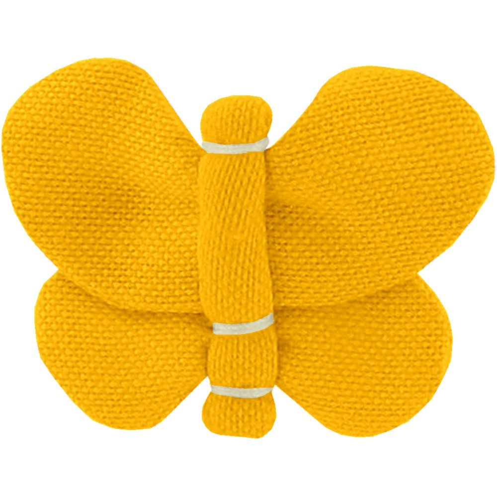 Barrette petit papillon jaune ocre