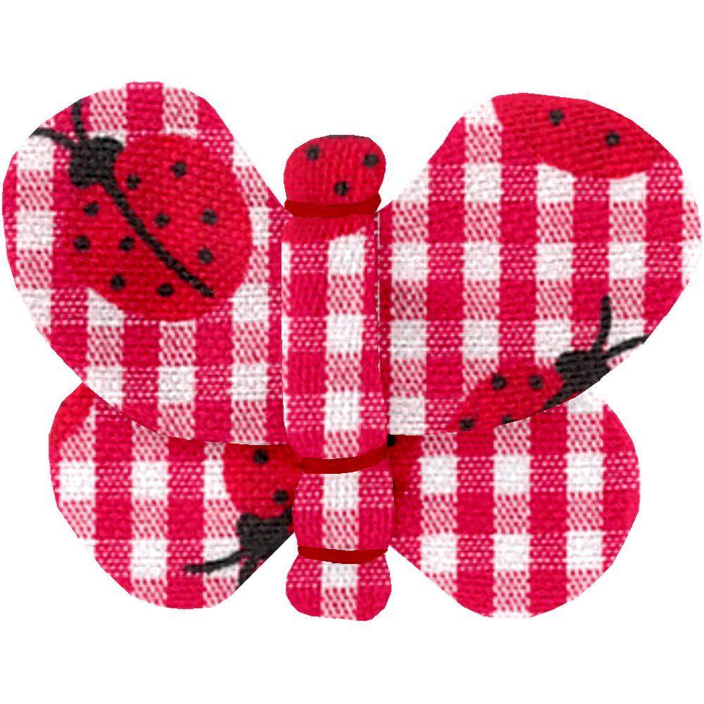 Barrette petit papillon vichy coccinelle