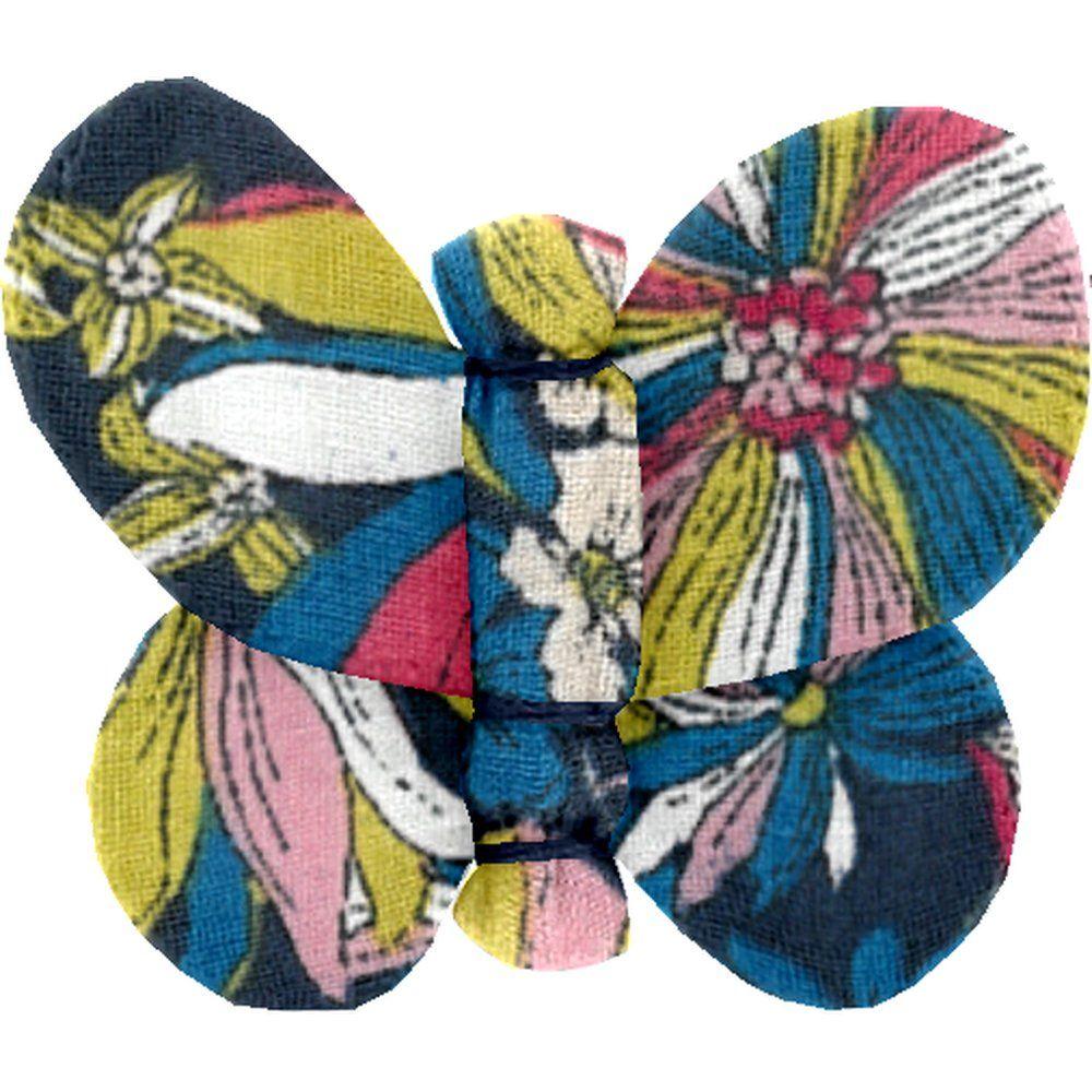Barrette petit papillon dahlia rose marine